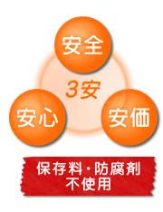 3安(安全・安心・安価) 保存料・防腐剤不使用